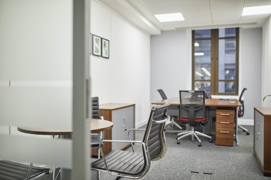 Office desks and meeting room