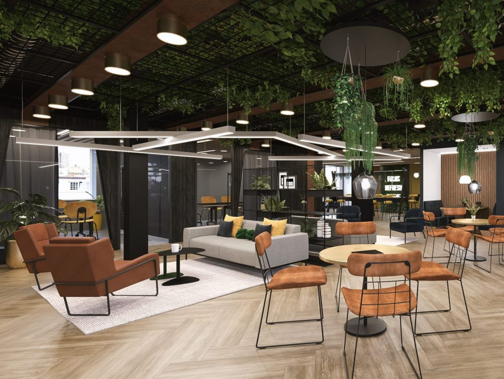 Open plan office space with plants