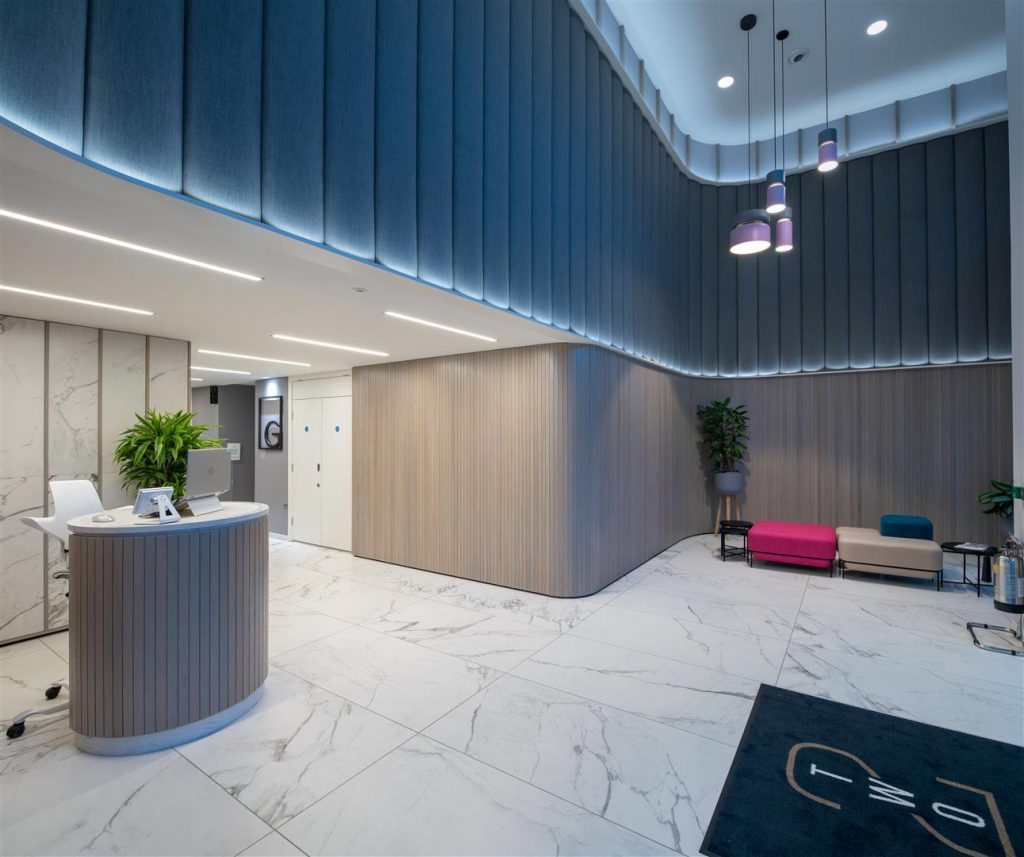 Large reception area with marble floors